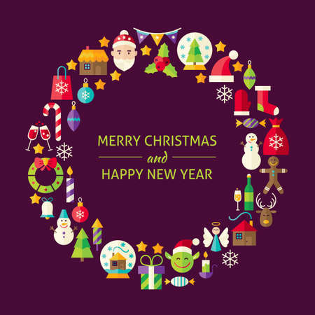 Merry Christmas New Year Flat Design Icons Circle Set. Vector Illustration of Decoration and Festival Cold Celebration Objects. Winter Holiday Items.