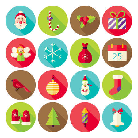xmas: New Year Merry Christmas Icons Set with long Shadow. Flat Design Vector Illustration. Winter Holiday. Collection of Circle Icons