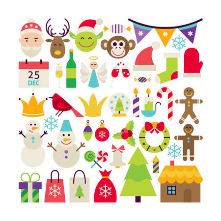 christmas objects: Big Collection of Merry Christmas Objects. Flat Design Vector Illustration. Set of Winter Holiday Happy New Year Colorful Items.