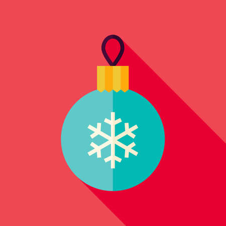 christmas icon: Decorative Christmas Ball Icon. Flat Design Vector Illustration with Long Shadow. Merry Christmas and Happy New Year Symbol. Illustration