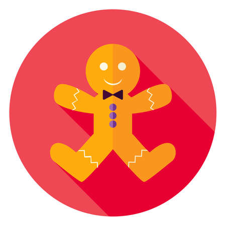 christmas cookie: Gingerbread Man Cookie Circle Icon. Flat Design Vector Illustration with Long Shadow. Merry Christmas and Happy New Year Symbol.