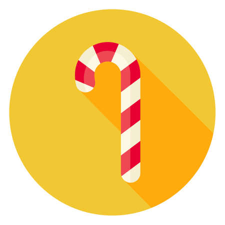 candy stick: Candy Stick Circle Icon. Flat Design Vector Illustration with Long Shadow. Merry Christmas and Happy New Year Symbol.