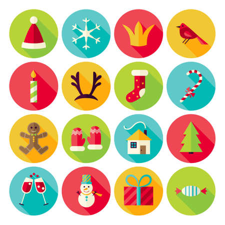 december background: Merry Christmas Icons Set with long Shadow. Flat Design Vector Illustration. Winter Happy New Year Holiday. Collection of Circle Icons Illustration