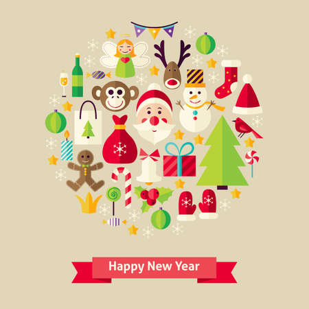 winter holiday: Happy New Year Objects Concept. Flat Design Vector Illustration. Collection of Winter Holiday Colorful Objects. Set of Merry Christmas Items.