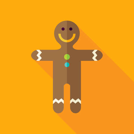 christmas cookie: Gingerbread Man Cookie Icon. Flat Design Vector Illustration with Long Shadow. Merry Christmas and Happy New Year Symbol.