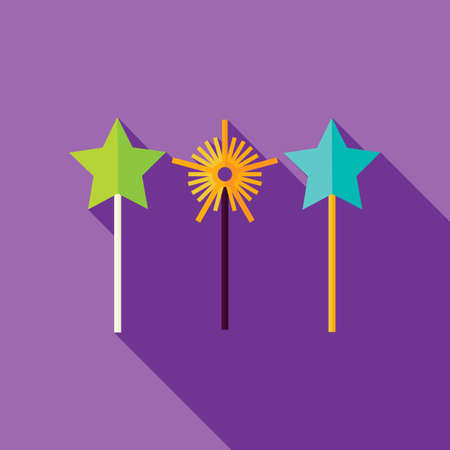 witchery: Magic Sticks Icon. Flat Design Vector Illustration with Long Shadow. Merry Christmas and Happy New Year Symbol.
