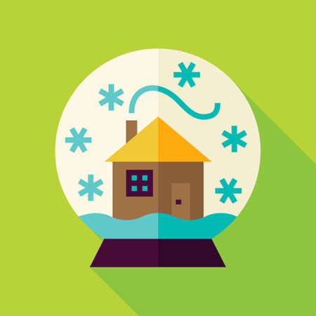 snowglobe: Snowglobe with House Icon. Flat Design Vector Illustration with Long Shadow. Merry Christmas and Happy New Year Symbol.