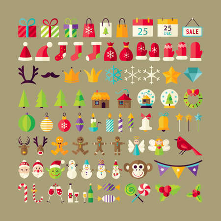 christmas objects: Big Collection of Winter Holidays Objects. Flat Design Vector Illustration. Set of Happy New Year and Merry Christmas Colorful Items.