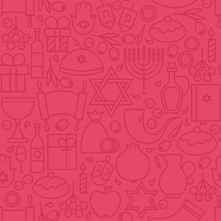 gelt: Thin Happy Hanukkah Line Seamless Pink Pattern. Jewish Winter Holiday Design and Seamless Background in Trendy Modern Line Style. Israel Judaism Religion