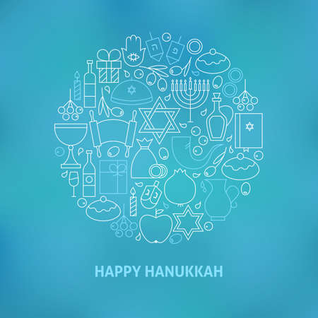 gelt: Thin Line Jewish Happy Hanukkah Icons Set Circle Shaped Concept. Illustration of Jewish Winter Holiday Objects over Blue Blurred Background. Israel Judaism Traditional Items.
