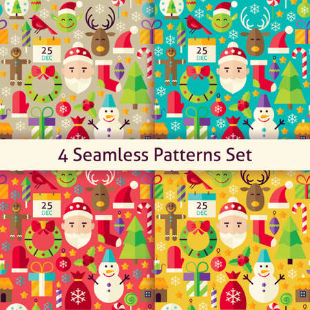 christmas objects: Merry Christmas Four Seamless Patterns Set. Happy New Year Flat Design Illustration. Tile Background. Set of Winter Holiday Items