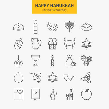 gelt: Line Jewish Happy Hanukkah Icons Big Set. Collection of 25 Winter Holiday  Modern Thin Line Icons for Web and Mobile. Israel Traditional Icons Bundle