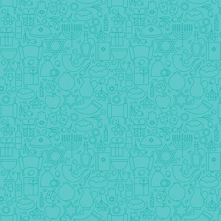 gelt: Thin Line Happy Hanukkah Blue Seamless Pattern. Jewish Winter Holiday Design and Seamless Background in Trendy Modern Line Style. Israel Judaism Religion
