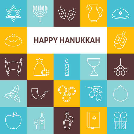 gelt: Thin Line Art Happy Hanukkah Jewish Holiday Icons Set. Collection of 25 Modern Line Icons for Web and Mobile. Israel Traditional Bundle.