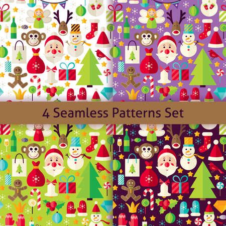 Happy New Year Four Seamless Patterns Set. Merry Christmas Flat Design Illustration. Tile Background. Set of Winter Holiday Items.