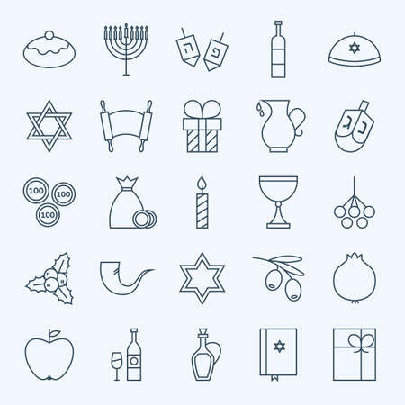 gelt: Line Happy Hanukkah Icons Set. Set of 25 Jewish Holiday Modern Line Icons for Web and Mobile. Israel Judaism Icons Collection