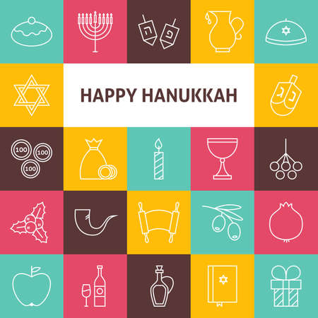 Line Art Happy Hanukkah Jewish Holiday Icons Set. Collection of 25 Modern Line Icons for Web and Mobile. Israel Traditional Bundle