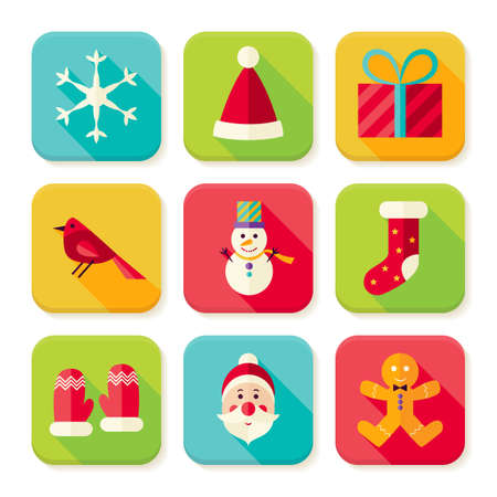 New Year and Merry Christmas Square App Icons Set. Flat Design Illustration. Winter Colorful Objects. Icons for Website and Mobile Application. Vector Illustration