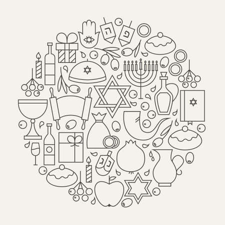 jewish background: Happy Hanukkah Line Icons Set Circular Shaped. Illustration of Jewish Winter Holiday Objects. Israel Judaism Traditional Items. Illustration