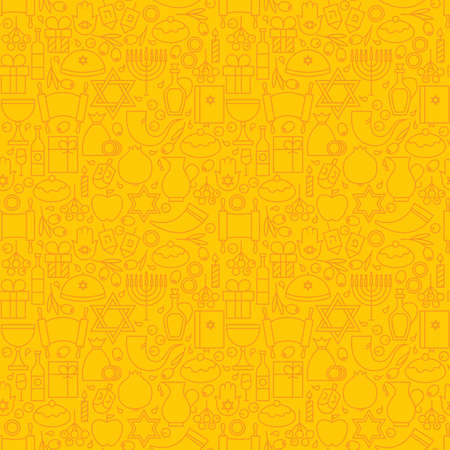 gelt: Thin Line Happy Hanukkah Seamless Yellow Pattern. Jewish Winter Holiday Design and Seamless Background in Trendy Modern Line Style. Israel Judaism Religion