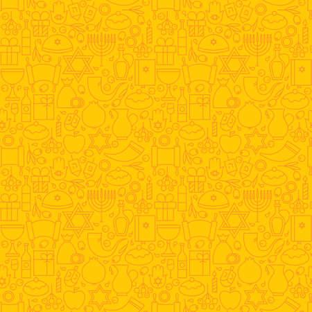 gelt: Thin Line Happy Hanukkah Seamless Yellow Pattern. Jewish Winter Holiday Design and Seamless Background in Trendy Modern Line Style. Israel Judaism Religion