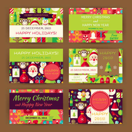 christmas promotion: Merry Christmas Invitation Template Set. Flat Design Vector Illustration of Brand Identity for Winter Holiday Promotion. Happy New Year Colorful Pattern for Advertising.