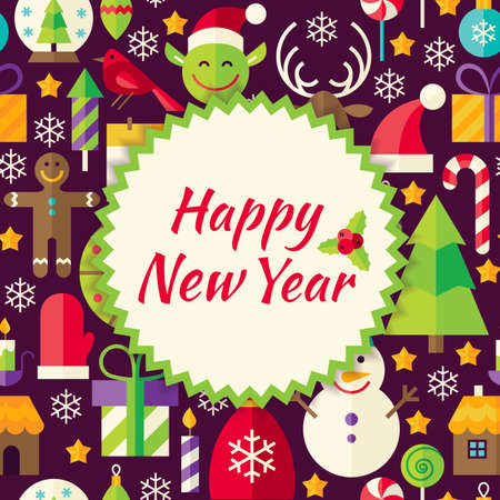 christmas promotion: Pattern Happy New Year Background. Flat Style Vector Illustration for Merry Christmas Promotion Template. Colorful Winter Holiday Objects for Advertising.