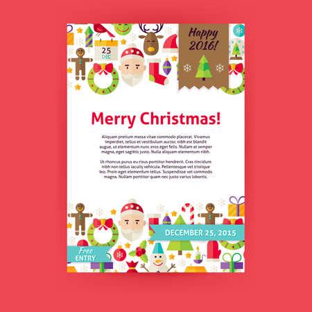 Merry Christmas Uitnodiging Template Flyer. Flat Design Vector illustratie van de Brand Identity voor Gelukkig Nieuwjaar Promotie. Winter Holiday Kleurrijk Patroon voor reclame.