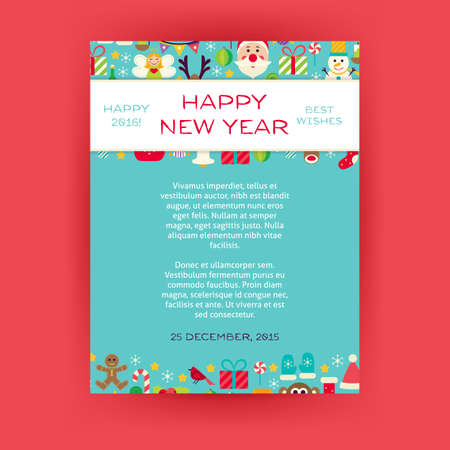 christmas promotion: Happy New Year Invitation Template Flyer. Flat Design Vector Illustration of Brand Identity for Merry Christmas Promotion. Winter Holiday Colorful Pattern for Advertising.