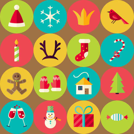 christmas element: Brown Vector Flat Merry Christmas Seamless Pattern Set with Circles. Happy New Year Flat Design Vector Illustration. Background. Set of Winter Holiday Items. Illustration