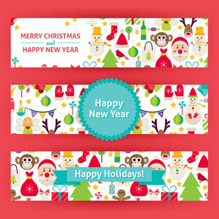 christmas promotion: Happy New Year Template Banners Set Modern. Flat Design Vector Illustration of Brand Identity for Merry Christmas Promotion. Winter Holiday Colorful Pattern for Advertising. Illustration