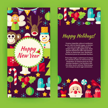 christmas promotion: Flyer Template of Flat Happy New Year Objects and Elements. Flat Style Design Vector Illustration of Brand Identity for Merry Christmas Promotion. Colorful Pattern for Advertising. Illustration