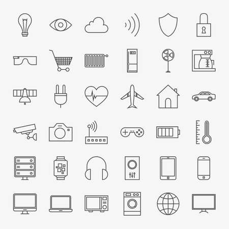 car security: Line Internet of Things Design Icons Big Set. Vector Set of 36 Modern Thin Line Icons for Website and Mobile.
