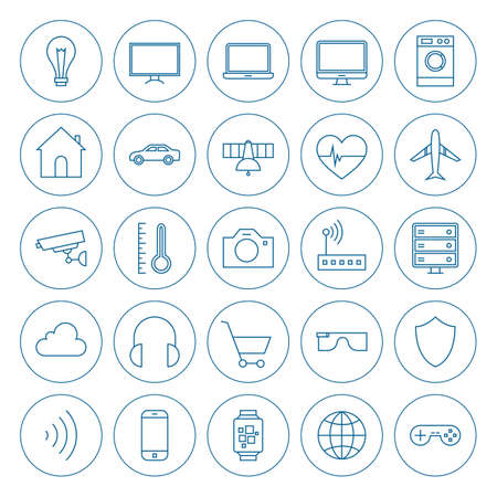 Line Circle Internet of Things Icons Set. Vector Set of Modern Technology Thin Line Icons for Web and Mobile Circle Shaped Isolated over White Background. Vettoriali