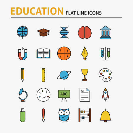 math set: Education and Science Colorful Flat Line Icons Set. Vector Set of 25 School and Graduation Modern Thin Outline Icons for Web and Mobile. Linear Icons Collection. Illustration