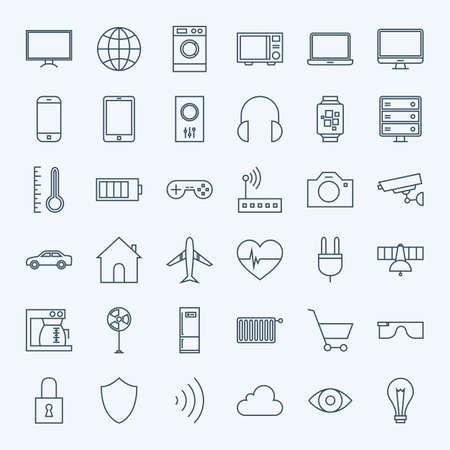 Lijn internet van dingen Icons Set. Vectorreeks van 36 Moderne Dunne Lijnpictogrammen voor Website en Mobiel. Stockfoto - 49541083