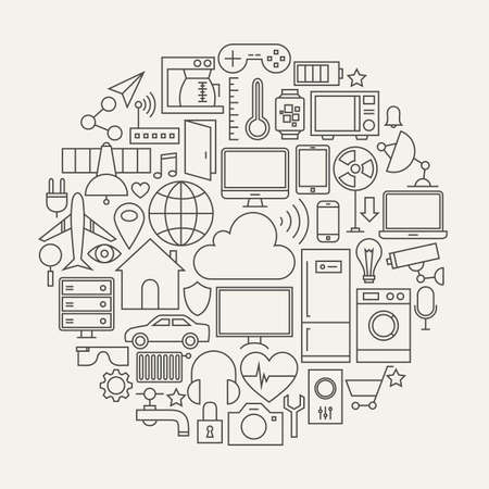 retail: Internet of Things Line Icons Set Circle Shape. Vector Illustration of Smart Home Technology Modern Objects.