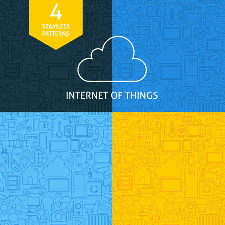 watch: Thin Line Art Internet of Things Pattern Set. Four Vector Website Design and Seamless Background in Trendy Modern Line Style. Smart Home Technology.
