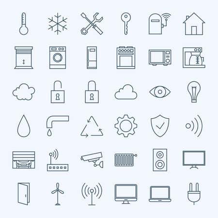 行家技術のアイコンを設定します。Web サイトや携帯電話 36 電子現代細い線アイコンのベクトルを設定。