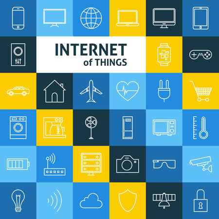 Line Art Internet of Things Icons Set. Vector Set of Smart Home Technology Modern Line Icons for Web and mobile. Stock Illustratie