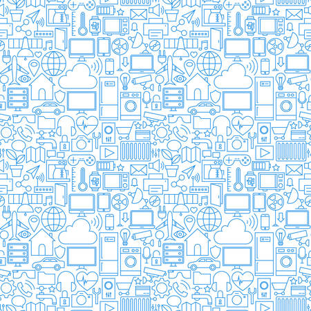 Thin Line Internet of Things White Seamless Pattern. Vector Web Design Seamless Background in Trendy Modern Line Style. Technology Smart Home Outline Art. Vettoriali