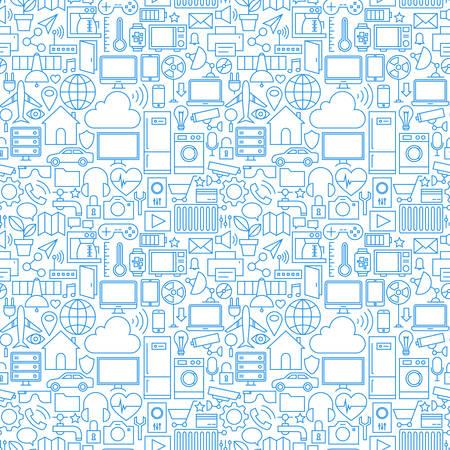 Thin Line Internet der Dinge Weiß nahtlose Muster. Vector Web Design Nahtlose Hintergrund in Trendy Modern Line-Stil. Technologie Smart Home Kontur-Kunst.