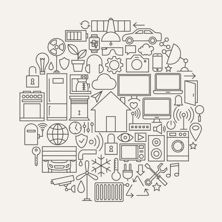 modern house: Technology House Line Icons Set Circle Shape. Vector Illustration of Smart Home Technology Modern Objects. Illustration
