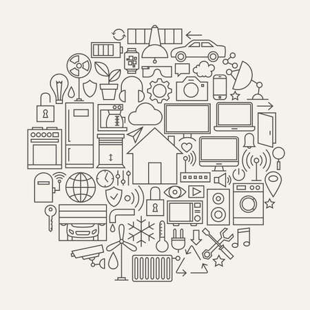 Technology House Line Icons Set Circle Shape. Vector Illustration of Smart Home Technology Modern Objects. Vettoriali