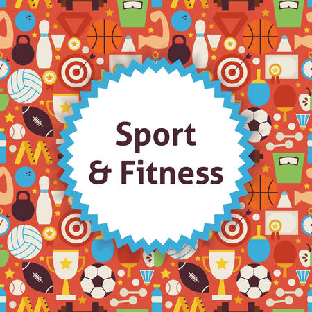 dieting: Pattern Sport Healthy Lifestyle Background. Flat Style Illustration for Fitness and Dieting Promotion Template. Colorful Objects for Advertising.