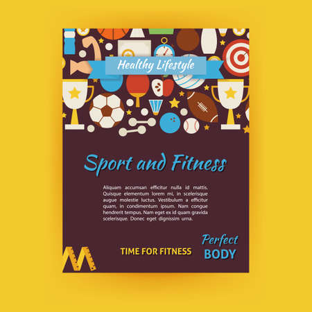 dieting: Sport and Fitness Template Banner Modern. Flat Design Illustration of Brand Identity for Dieting and Workout Promotion. Colorful Pattern for Advertising. Illustration