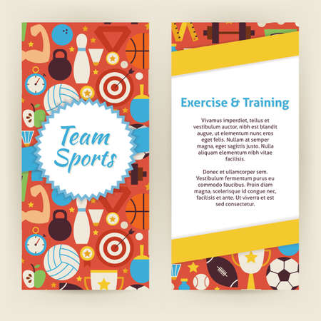 deportes colectivos: Template of Exercise and Training Sport Objects and Elements. Flat Style Design Vector Illustration of Brand Identity for Workout and Dieting Promotion. Foto de archivo