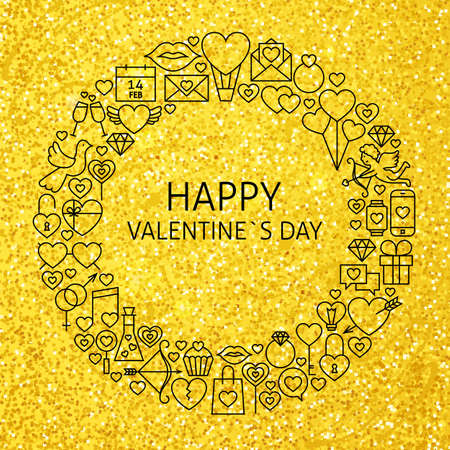 heart design: Happy Valentine Day Holiday Line Art Icons Set Circle. Illustration of Decoration and Celebration Objects. Love Wedding Items.