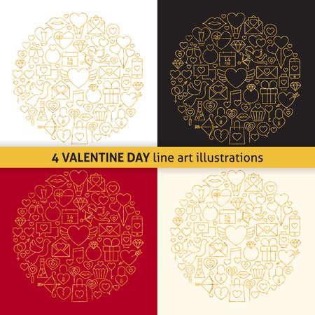 diamond rings: Gold Valentine Day Line Icons Circle Shape Set. Illustration of Decoration Wedding Celebration Objects. Love Items over colorful backgrounds. Stock Photo