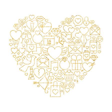 wedding heart: Gold Valentine`s Day Line Icons Set Heart Shape. Illustration of Decoration Wedding Celebration Objects. Love Items.
